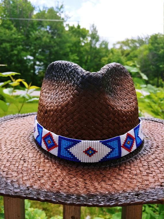 Billy Jack Hat Band Approx 1 Inch Wide By 22 5 8 Inches Long Can Be Adjusted To All Handmade Beaded Hat Cowboy Hats Beaded Hat Bands