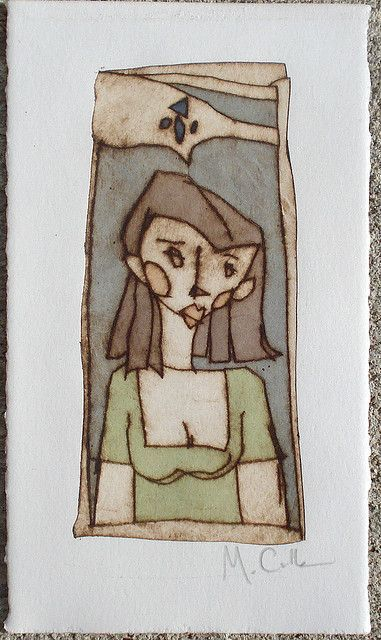 Hazel - Kissing Booth    Acetate drypoint etching and watercolor on paper.