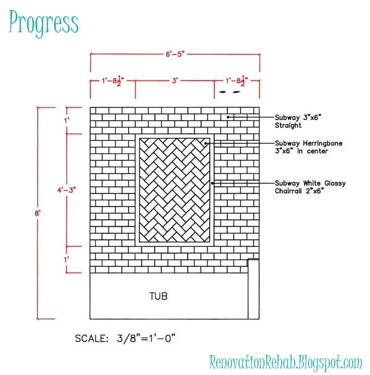 Renovation Rehab: Vintage Bathroom Remodel - Part 3 Tile line drawing