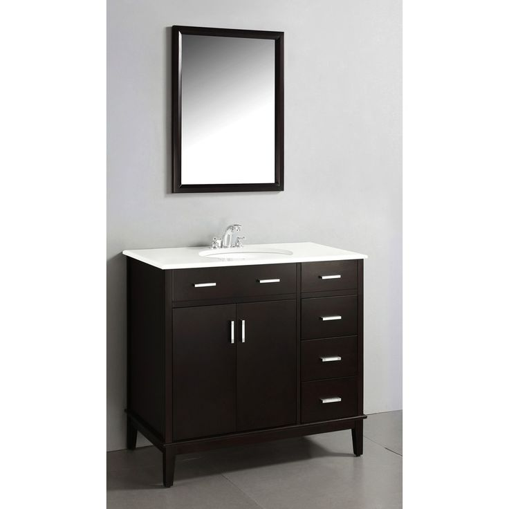 Photographic Gallery Oxford Dark Espresso Brown Bath Vanity with Doors and White Quartz Marble Top Overstock Shopping Great Deals on WyndenHall Bathroom Vanities