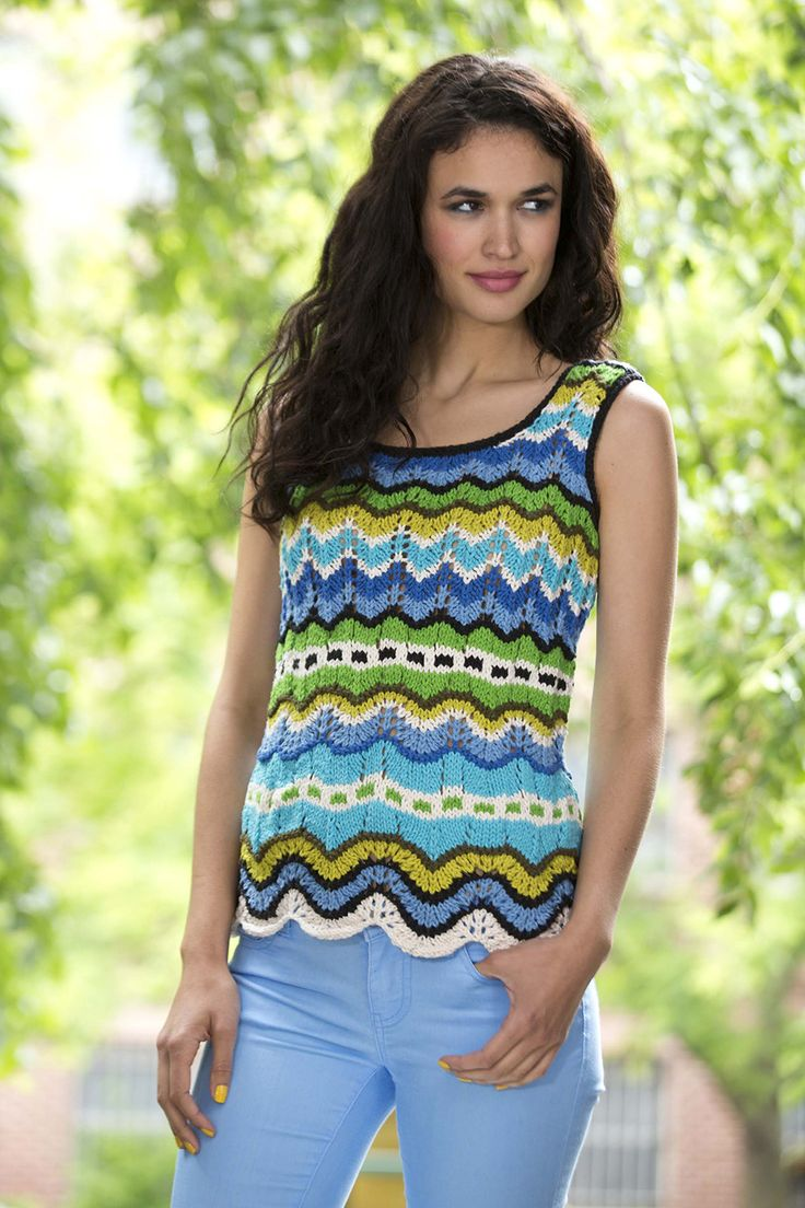 Knit this chevron ripple tank with our featured yarn and save 20% for a limited time! Perfect for spring and summer - get the free pattern and make it with 9 - 15 balls of Kitchen Cotton and sizes 6, 7, and 8 knitting needles.
