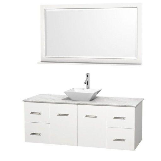 "Wyndham Collection Centra 60"" Single Bathroom Vanity Set for Vessel Sink - Matte White WC-WHE009-60-SGL-VAN-WHT"