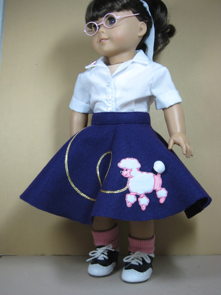 18 Doll Clothes American Girl Purple Poodle Skirt 50s Outfit. $39.50, via Etsy.