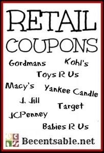 Printable retail coupons for Gordmans, J. Jill, Target, JCPenney, Yankee Candle, Babies R Us, Toys R Us, Macy's, Target, Gap and more!!