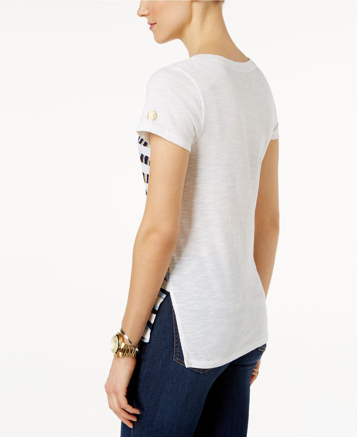MICHAEL Michael Kors Zebra-Stripe T-Shirt - Tops - Women - Macy's