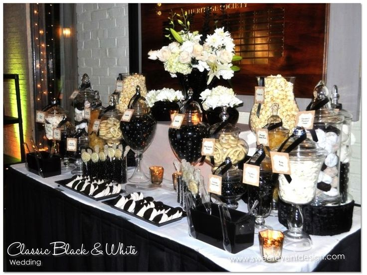 black and white wedding candy dessert buffet wwwsweeteventdesign wedding ideas and inspiration