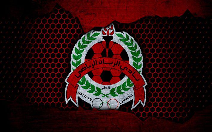 Download wallpapers Al-Rayyan, 4k, logo, Qatar Stars League, soccer, football club, Qatar, Doha, grunge, metal texture, Al-Rayyan FC