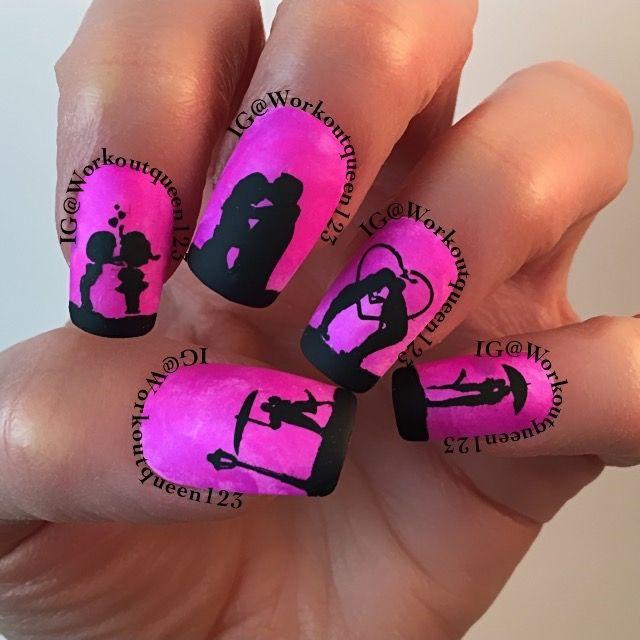 Couples kissing polishes used #colorclub Kapow, Right on, #chinaglaze liquid Leather #mundodeunas Black-2 stamping plates used #bornprettystore BP-71, #mdu Valentines-3, #faburnails Fun-15,-20 #glamnailschallengefeb #bestnailschallenge #nailartoohlala #perfectlilmani #craftyfingers #nailartheaven #nailartoohlala #allprettynails #nail #nails #nailart #nailitmag #nailsofinstagram #nailstagram