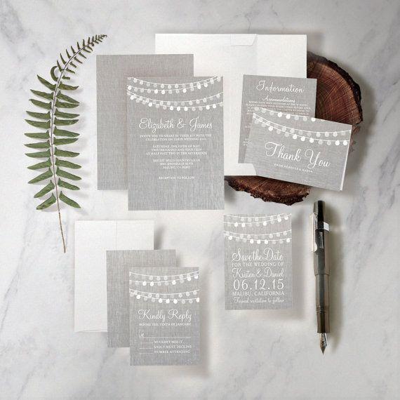 String of Lights Wedding Invitation Set/Suite by InvitationSnob