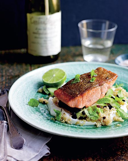 Ocean Trout with Quinoa, Yoghurt, Cucumber and Mint, page 98.
