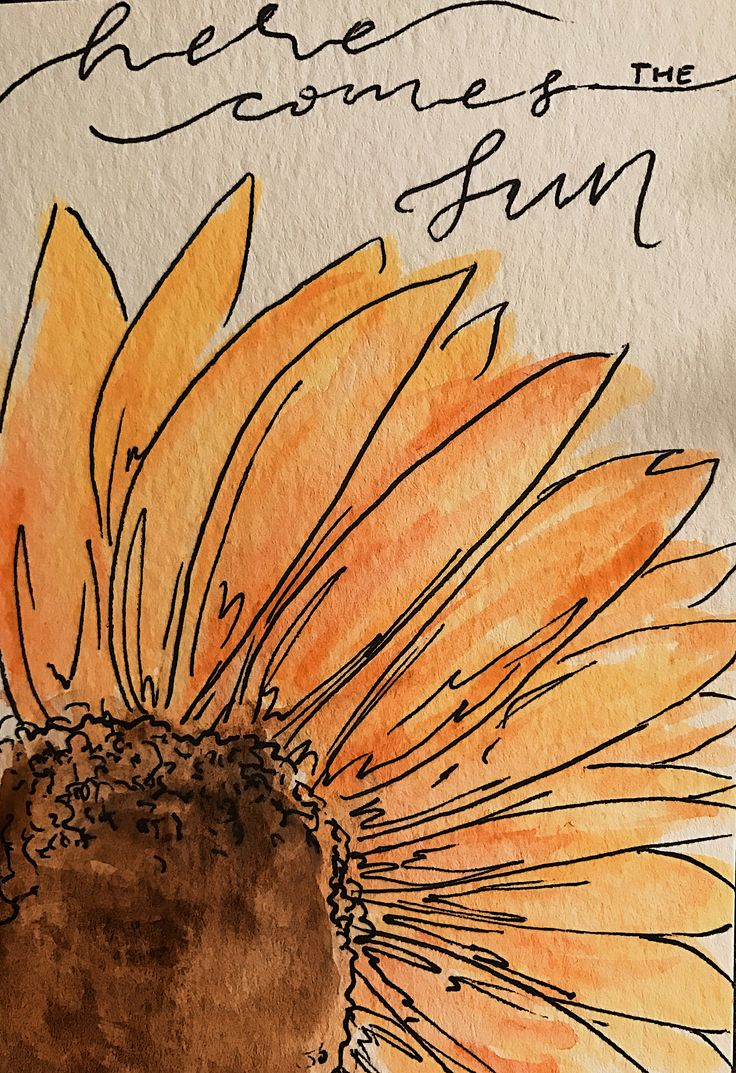 Watercolor sunflower here comes the sun