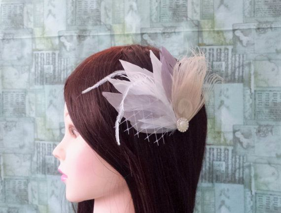 White Grey Beige Peacock Bridal Feathers Veil Fascinator Wedding Bridesmaid Prom Hairpiece Crystal Emellishment READY TO SHIP Actual Product