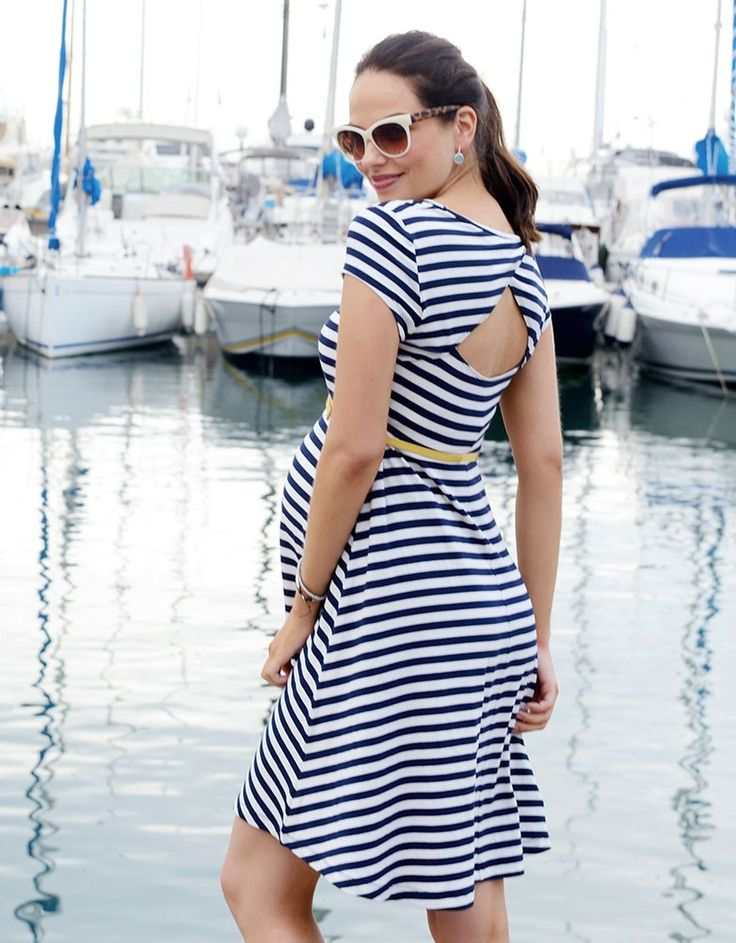 Trendy nautical stripes Stylish cut out at the back Above the knee  Our gorgeous nautical maternity dress is an essential style this season; working two trends at once with stylish nautical stripes and a flirty cut out at the back! Horizontal stripes are perfect for showing off a growing bump, and this fit n flare striped maternity dress hugs and skims your curves in all the right places for a flattering fit throughout your nine months and beyond. The flirty cut out at the back puts a sexy…