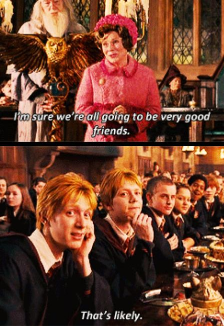 When they became best friends with Professor Umbridge:   21 Fred And George Moments That Will Always Make You Smile