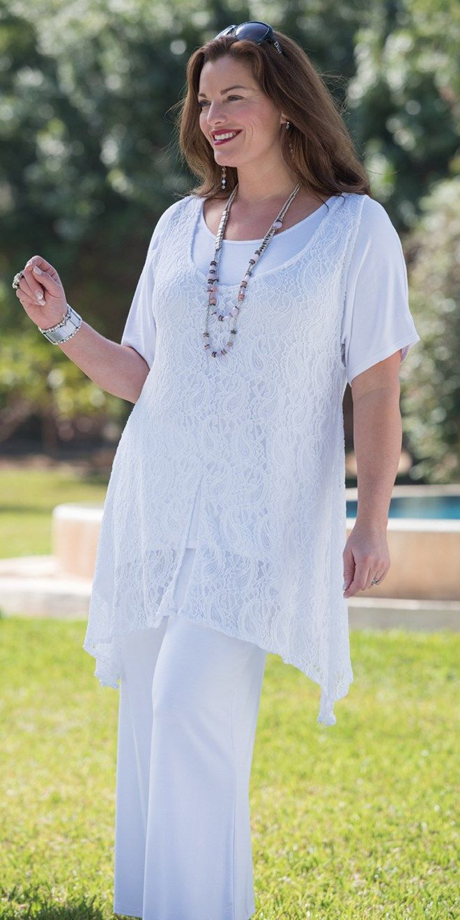 Kasbah white lace tunic and cap sleeve t shirt