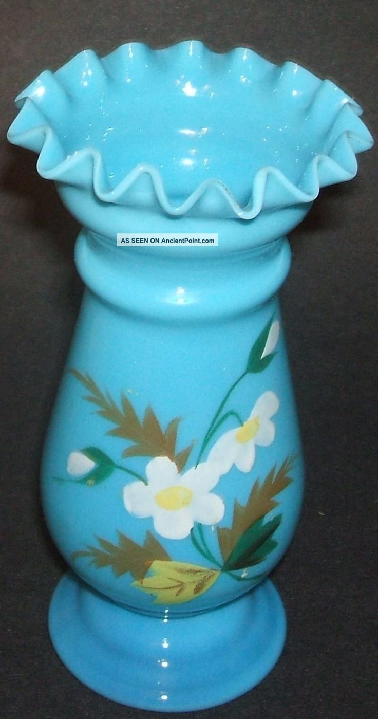 Bristol Blue Glass Vase Hand Painted
