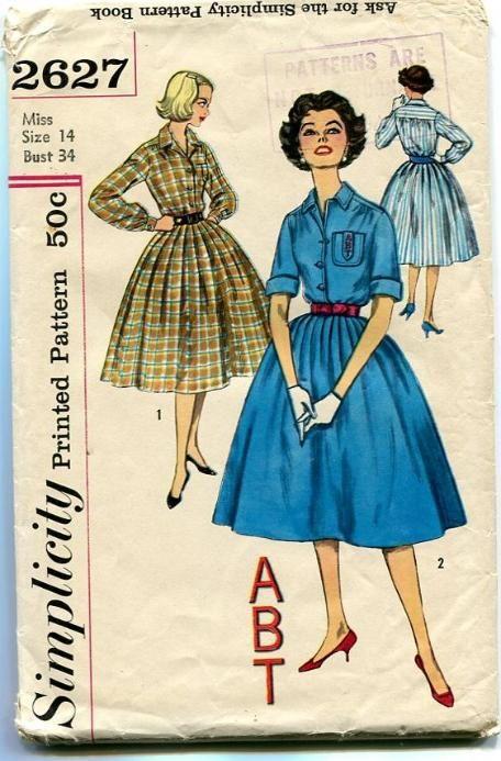 Simplicity 2627 Vintage Pattern 1950's Shirtwaist Dress with Monogram Bust 34 1958