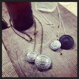 Vintage British Constable Button necklace in silver & with Black