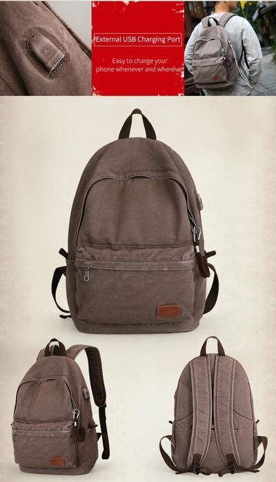c81dab1cfcfa Muzee Retro Men USB Design Backpack Casual Canvas Bag Fashion ...