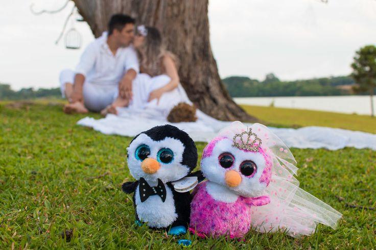A História dos pinguins esse casal é apaixonado por pinguins e o pedido de casamento não foi diferente.    Quando o pinguim escolhe sua parceira ele leva uma pedra de presente para ela e isso simboliza que ele quer viver o resto da vida com ela.    Replicamos a História através da foto.