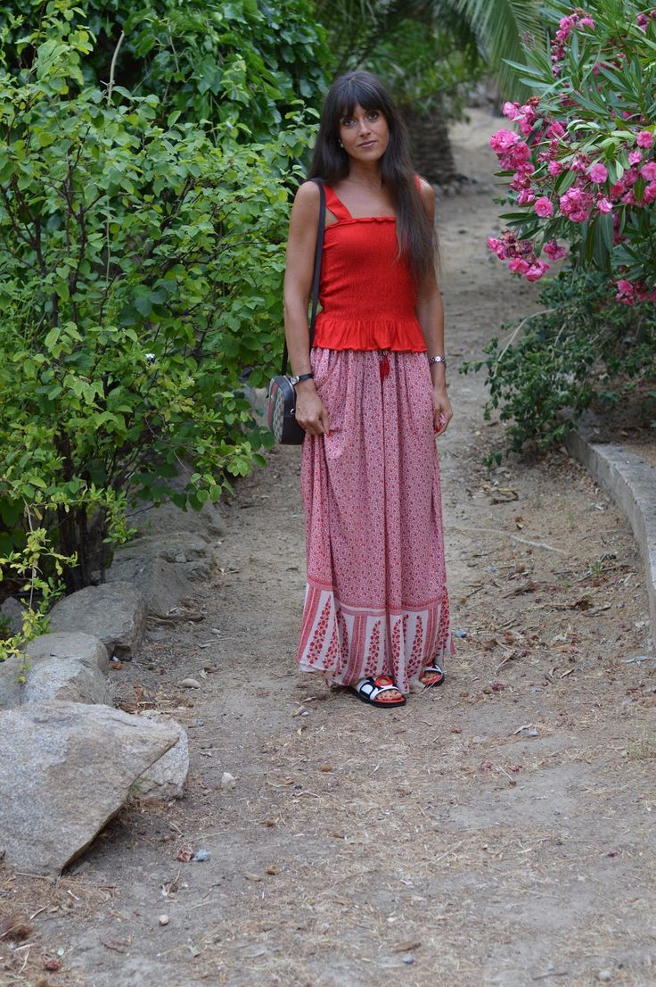 Modest Fashion Inspo ♥ Red Alert ♥ Maxi Skirt and Dior Marina Mules