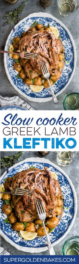 Slow cooker Greek Lamb Kleftiko with potatoes. The lamb is cooked until it is so tender it simply falls apart at the touch of the fork. | Supergolden Bakes