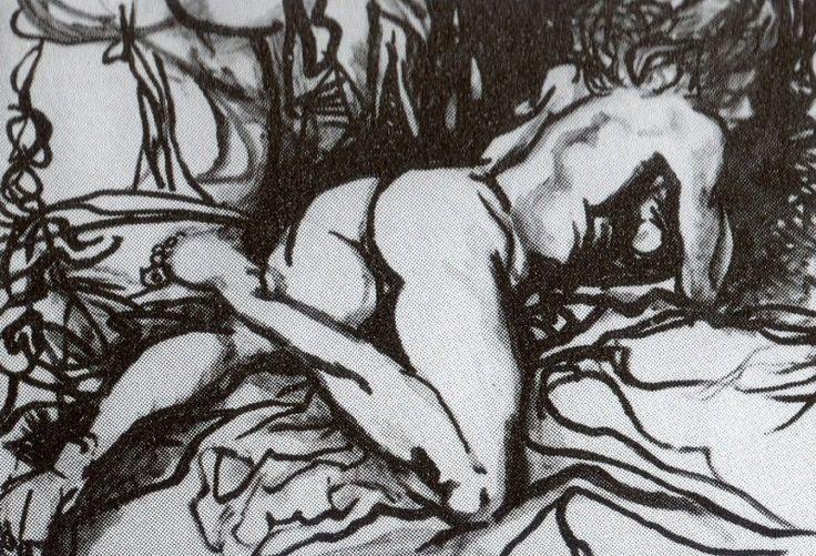 Renato Guttuso, Nudo disteso, 1962, olio su carta intelata, cm. 70x100