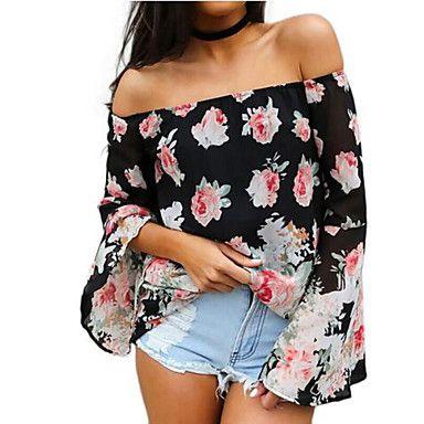 Women's Floral Black T-shirt , Strapless Long Sleeve 2016 – $17.99