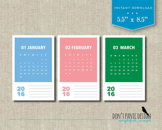 2016 Printable Monthly Calendar  Modern Color by dontpanicOrganize; $5