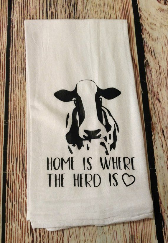 Home is where the herd is | Kitchen towel | dish towel | farmhouse decor | farm life | cow decor | k