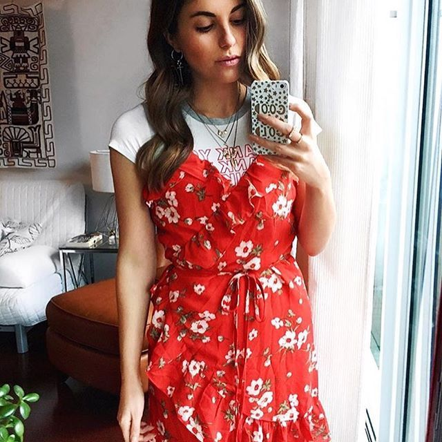 Our Field Guide floral red wrap dress styled with a printed tee ❤️ love this look! women's fashion online Toronto