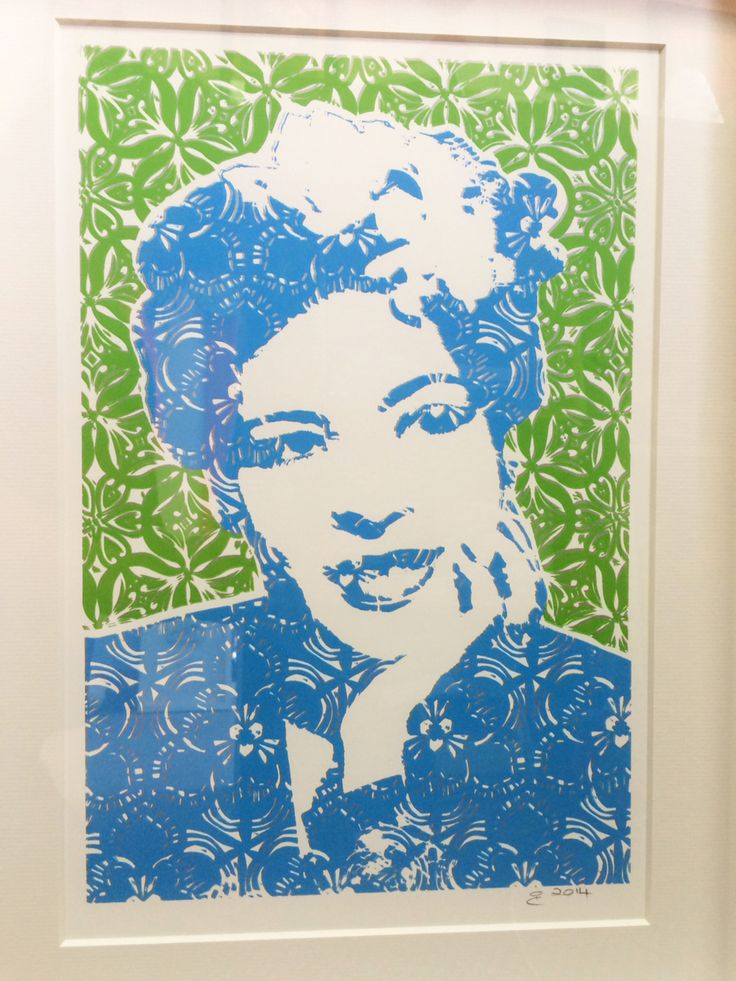 Billie Holiday From a series of portraiture called 'Young, Gifted & Cracked' Screen Print and Lino cut. The series symbolises the patterns in the lives of the subjects that were never broken.