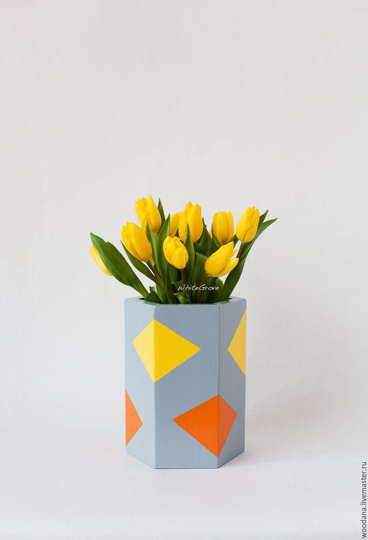 """Купить Деревянная ваза-кашпо """"Татлин"""" - ваза, ваза для цветов, ваза декоративная, ваза для сухоцветов"""
