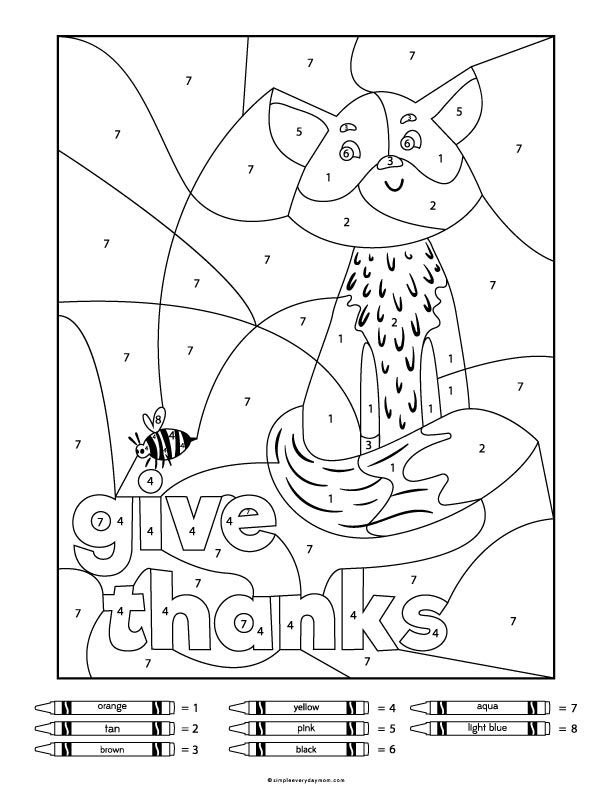 6 Fun Thanksgiving Color By Number Printables For Kids ...