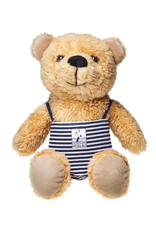 Vöslauer Teddybär mit Badeanzug, Freistellerfoto by Mischa Nawrata, Studio Mischt Nawrata, Januar 2016, ist im Shop des Thermalbads erhältlich.
