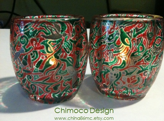Hand-painted and drawn glass and ceramic pieces by Sydney-based Chimoco Design. www.china86mc.etsy.com #Chimoco Design #candle #gift #request #home decor
