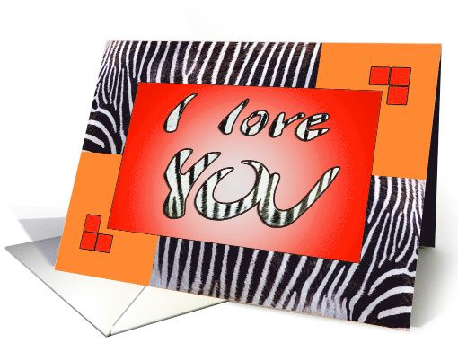 "I love YOU girlfriend - zebra print - orange-red card  by Steppeland   Inside verse:   ""To my wonderful girlfriend,  Like black and white stripes on a zebra belong together, so we belong together too. As wide and vast as the savannah, zebra's homeland, is my love for you! "" Price: $3.50 (includes envelope) - Check discounts!!"