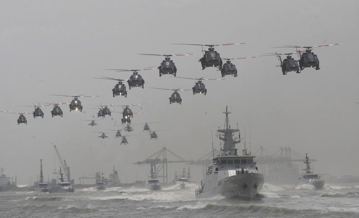 Helicopter and ship formation celebrating 69th anniversary of the Indonesian Armed Forces - October 2014