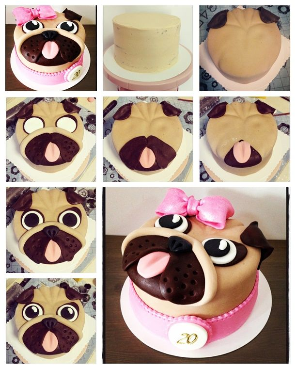 """You will earn much"""" wow"""" with this super cute pug cake at your party ! --> http://wonderfuldiy.com/wonderful-diy-cute-pug-cake/ #diy #cake"""