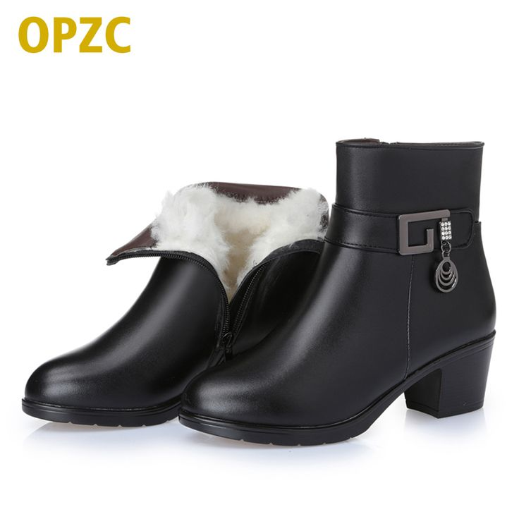 Women Boots Thick Heel Platform Shoes Autumn Winter Wool Boots For Women  Genuine Leather Ankle Boots Size