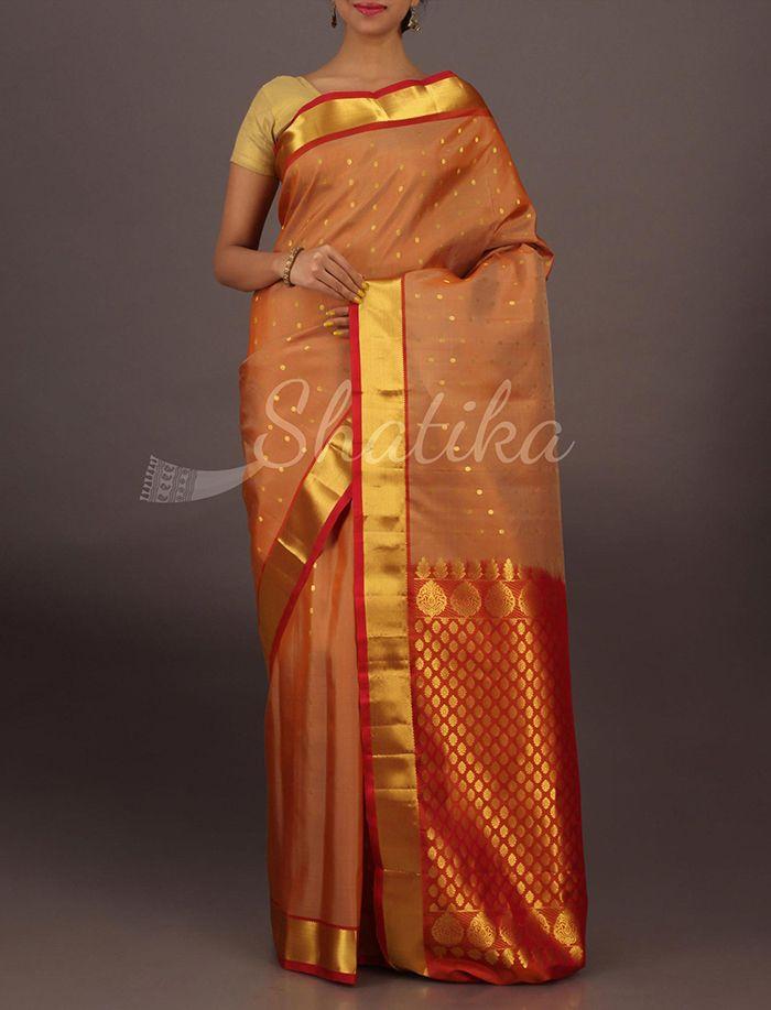 Srilakshmi Beige And Orange Small Bootis Traditional Pure #SalemSilkSaree