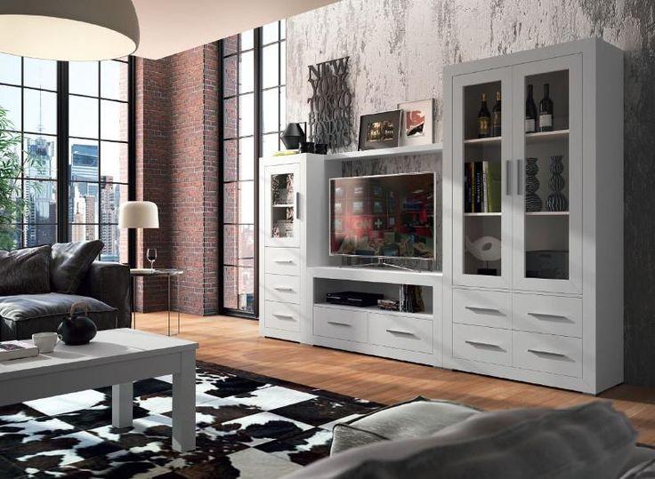 Gruposeys Basicos display cabinet in chalk white with matching Grupo Seys furniture