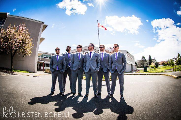 Esquimalt Chief & Petty Officers Mess Wedding. Groom and groomsmen wearing grey and purple.