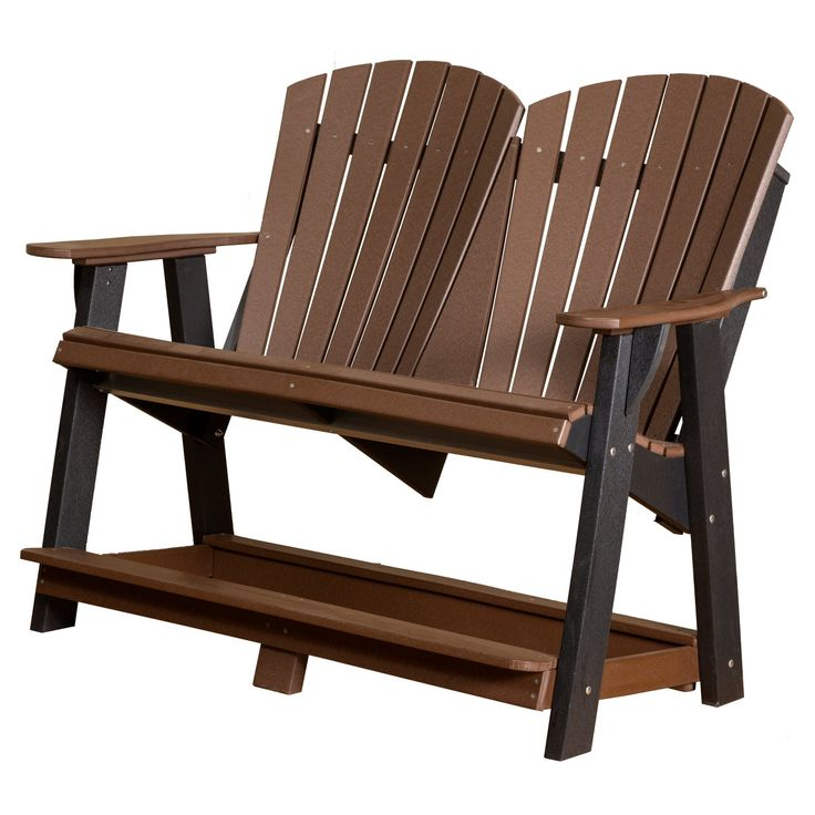 Outdoor Little Cottage Heritage High Adirondack Bench - LCC-130-TUDOR/BLACK