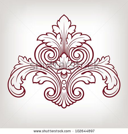 stock vector : vector vintage Baroque damask  design frame pattern element engraving retro style
