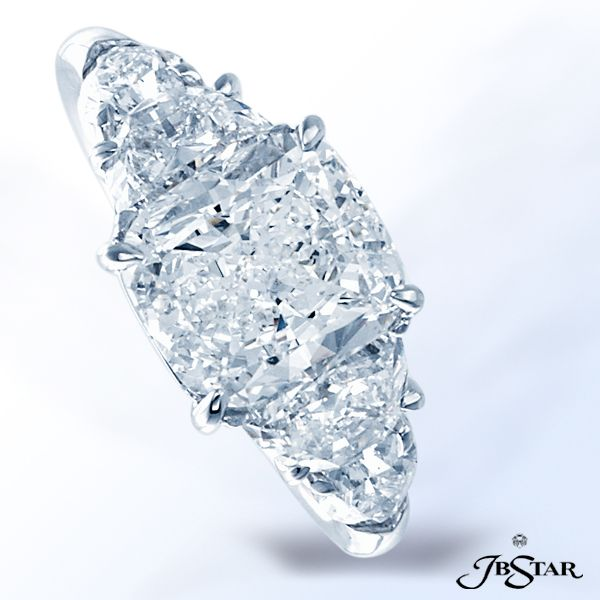 Style 1206 Diamond ring in a classically designed with a 2.52 ct cushion diamond center embraced by perfectly matched half-moon and shield diamonds. Platinum @jewelsbystar #diamondring #cushion #classic