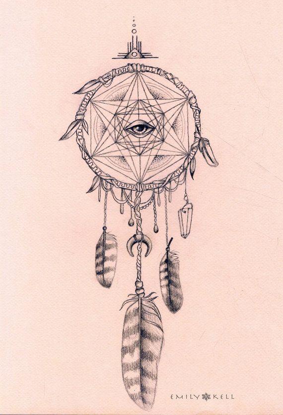 Owl dreamcatcher drawing - photo#11
