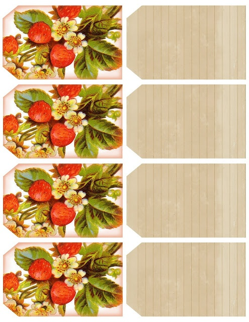 Vintage Strawberry Tags ~ printable featuring 4 strawberry tags & 4 vintage recipe card tags.