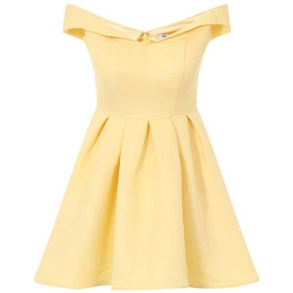 **Chi Chi London Fold over bardot midi dress ($110) ❤ liked on Polyvore featuring dresses, yellow, calf length dresses, yellow dress, pleated midi dress, beige midi dress and mid calf dresses