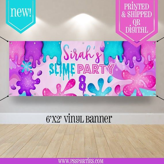 Slime Party Banner Slime Backdrop Slime Slime Party Girl Party Slime Birthday Step And R In 2020 Slime Party Party Banner Slime Birthday